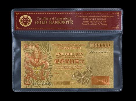Colored Hong Kong Banknote Gold $1,000,000 Dragon- Beautifully Displayed Replica Bank Note