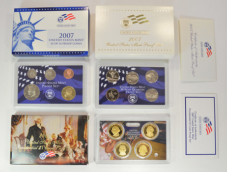 Complete 2007-S Deep Cameo Proof Set - 14 Coins Including Four Presidential Dollars