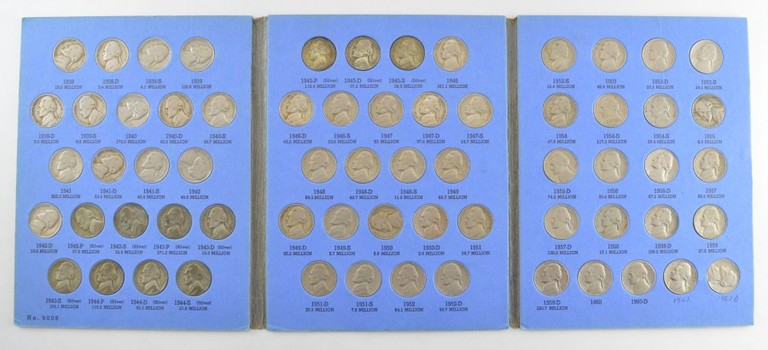 COMPLETE SET - 1938-63 Jefferson Nickels Collection SILVER War 1950-D - Nice Album