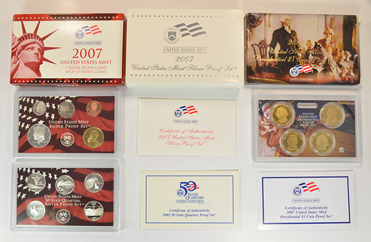 Complete Silver 2007-S Deep Cameo Proof Set - 14 Coins Including Four Presidential Dollars