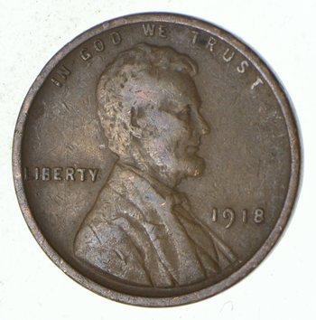 Crisp - 1918 Lincoln Wheat Cent - Early - Philadelphia Minted