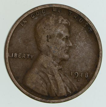Crisp - 1918-S Lincoln Wheat Cent - Early - San Francisco Minted
