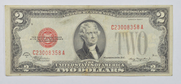 Crisp 1928 Red Seal $2.00 United States Note - Better Grade