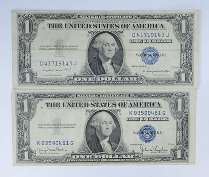 1957-B & 1957 Series Blue Seal Silver Certificate - CRISP (2 Notes ...