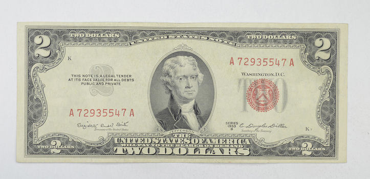 Crisp 1953 Red Seal $2.00 United States Note - Better Grade