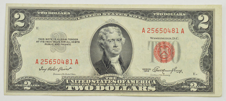 CRISP - 1953 Red Seal $2.00 United States Note - Better Grade