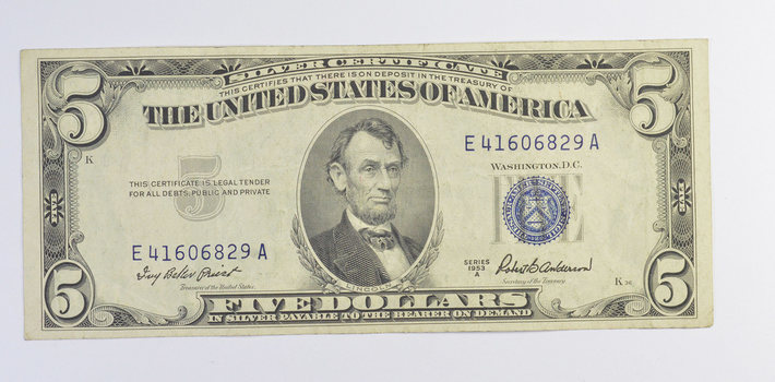CRISP - 1953-A $5.00 Silver Certificate US Note - Historic Silver On Demand Note