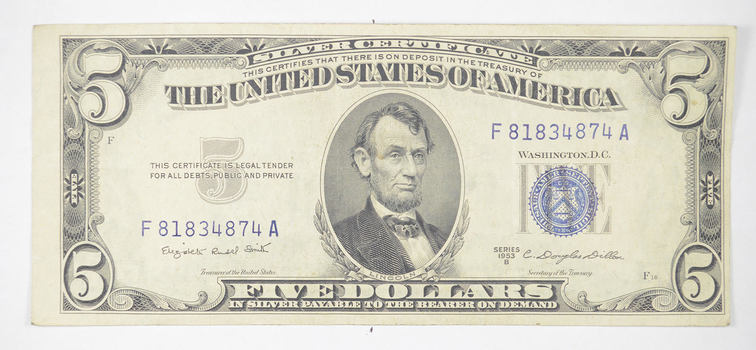 CRISP - 1953-B $5.00 Silver Certificate US Note - Historic Silver On Demand Note