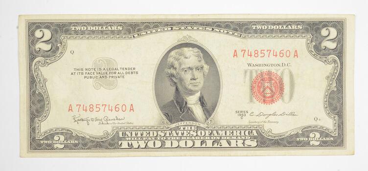 Crisp 1953-C Red Seal $2.00 United States Note - Better Grade