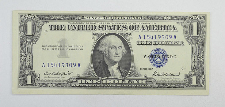 Crisp 1957 $1.00 Silver Certificate United States Dollar Currency Note