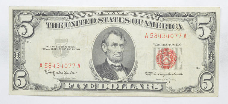 Crisp 1963 Red Seal $5.00 United States Note - Better Grade
