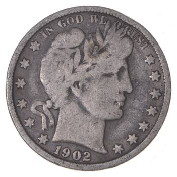 Crisp - 50c Coin - 1902 Liberty Barber 90% Silver US Half Dollar