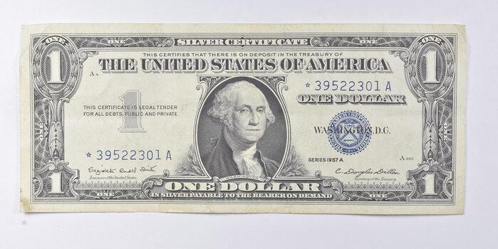Crisp AU/Unc 1957-A Star ERROR Replacement Note - Silver Certificate $1