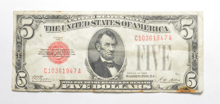 CRISP - NICE 1928 $5.00 Red Seal US Note - Rare