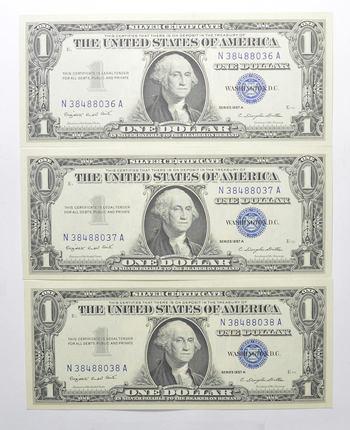 Crisp Unc Consecutive (3 Note Lot) 1957-A Silver Certificate - Uncirculated