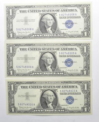 Crisp Unc Consecutive (3 Note Lot) 1957-B Silver Certificate - Uncirculated