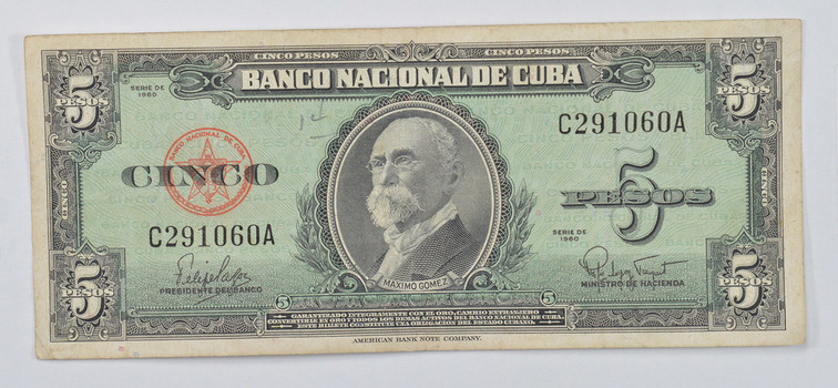 CUBA - National Bank of Cuba 5 Pesos Note - Maximo Gomez - Series of 1960!