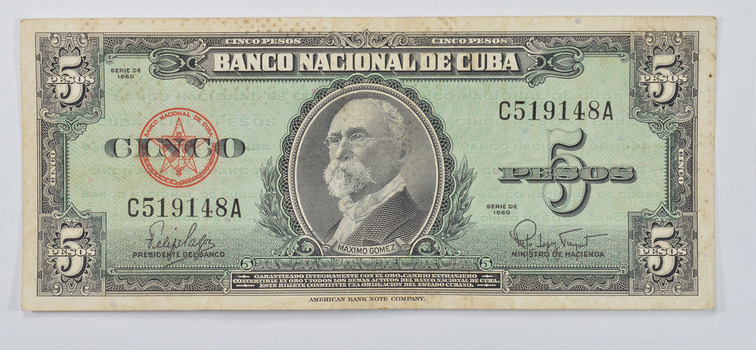 CUBA - National Bank of Cuba 5 Pesos Note - Maximo Gomez - Series of 1960!