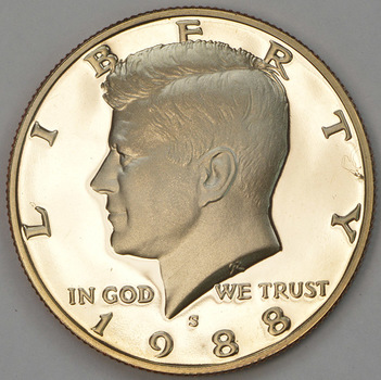 Deep Cameo PROOF 1988-S San Francisco Minted Proof Kennedy Half Dollar