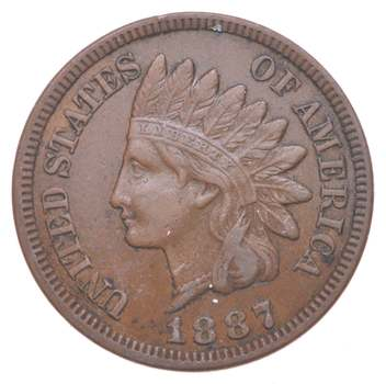 """Detailed """"Liberty"""" 1887 Indian Head Cent - Great Condition!"""