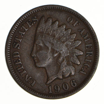"""Detailed """"Liberty"""" 1906 Indian Head Cent - Great Condition!"""