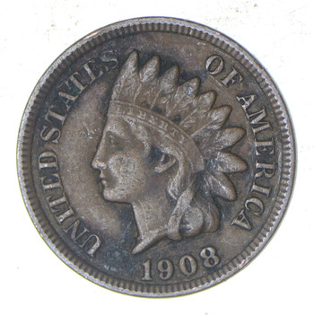 "Detailed ""Liberty"" 1908 Indian Head Cent - Great Condition!"