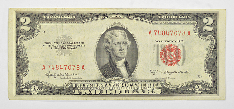 Difficult 1953-C Dillon Secretary Note $2.00 Red Seal