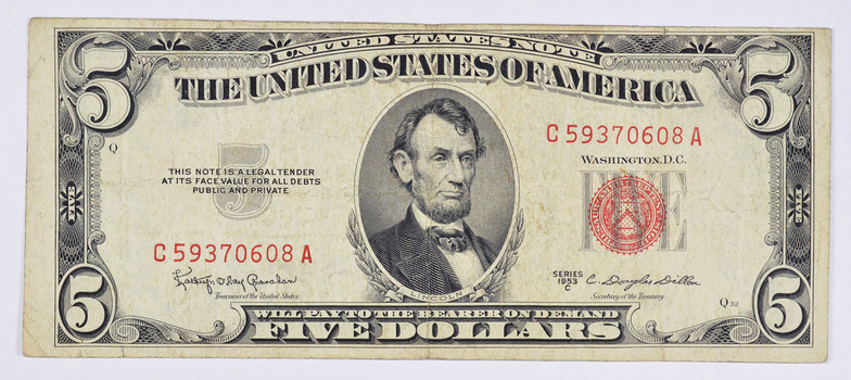 Difficult 1953-C Dillon Secretary Note $5.00 Red Seal