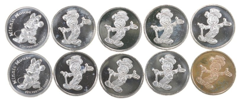 DISNEY - Lot of 10 Mickey Mouse Everyone's Favorite Mouse 1/20th Troy Ounce .999 Silver Round