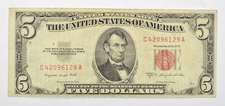 DOUGLAS Dillon $5.00 Red Seal United States Note - Series B 1953