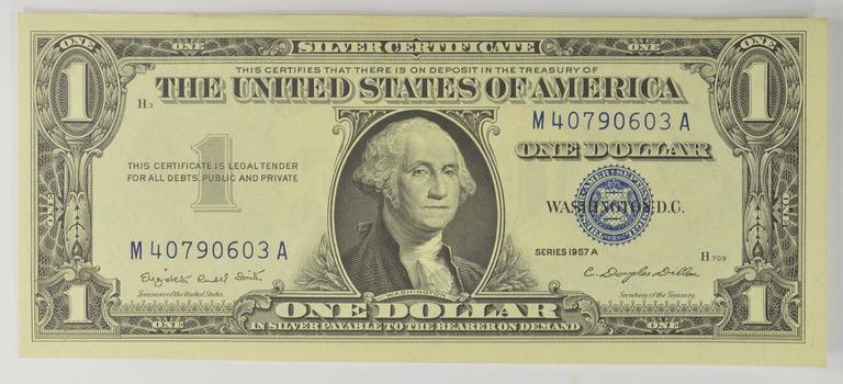 Douglas Dillon Sec Crisp Silver Certificate 1957-A - High Grade - $1.00 Silver Certificate