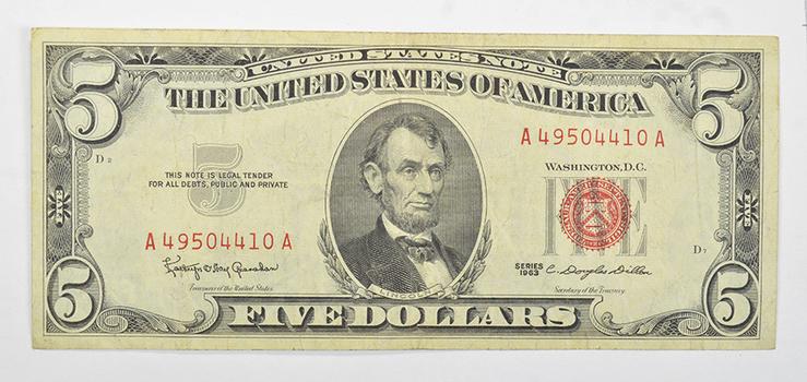 Douglas Dillon - Secretary of the Treasury - 1963 Red Seal $5.00 United States Note