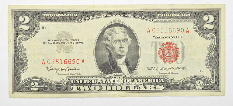 Douglas Dillon Secretary of Treasury 1963 $2.00 Red Seal Note - US Currency