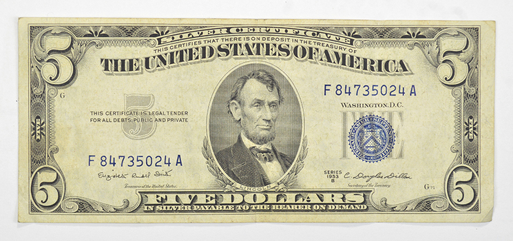 Douglas Dillon SERIES B 1953 $5.00 Silver Certificate US Note