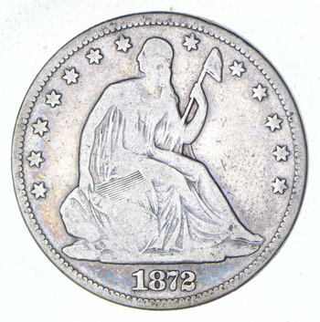 Early - 1872 Seated Liberty Half Dollar - Rare Type US Coin Silver 90%