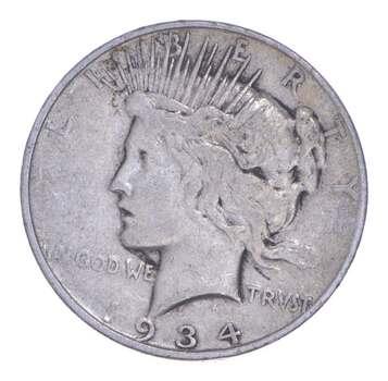 Early - 1934-D Peace Silver Dollar - 90% US Coin