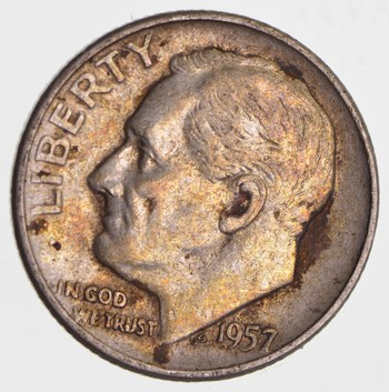 Early 1957-D Roosevelt 90% Silver Dime