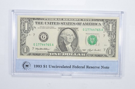 Encased U.S. Currency - 1993 $1 Uncirculated Federal Reserve Note PCS - Neat!