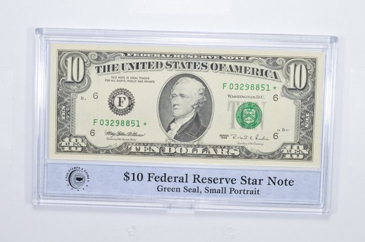Encased U.S. Currency - 1995 $10 Federal Reserve Star Note Green Seal, Small Portrait PCS - Neat!