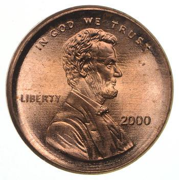 ERROR - Broad Strike - 2000 Lincoln Memorial Cent - GEM BU - Cool Error**