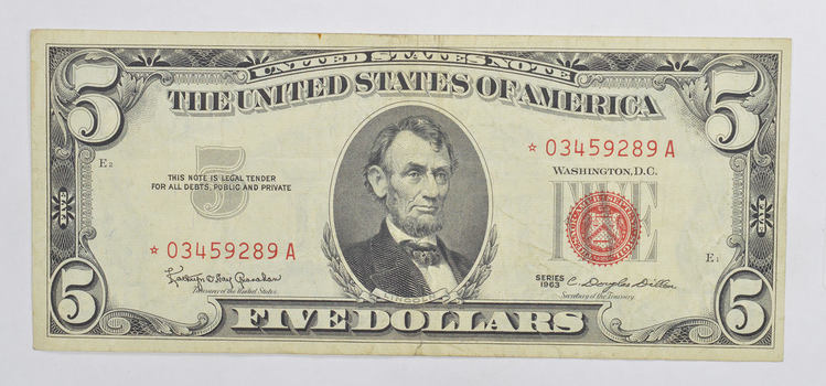 ERROR Replacement Note - $5.00 1953 Red Seal Note - TOUGH