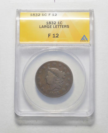 F12 1832 Matron Head Large Cent - Large Letters - Graded ANACS