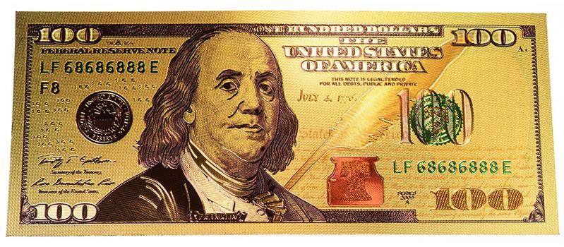 Fantasy $100 Benjamin Franklin Colorized Gold Foil Note