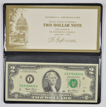 Federal Reserve Currency - United States $2.00 FRN Bill - Series 2003 - Protected in Padded Case!
