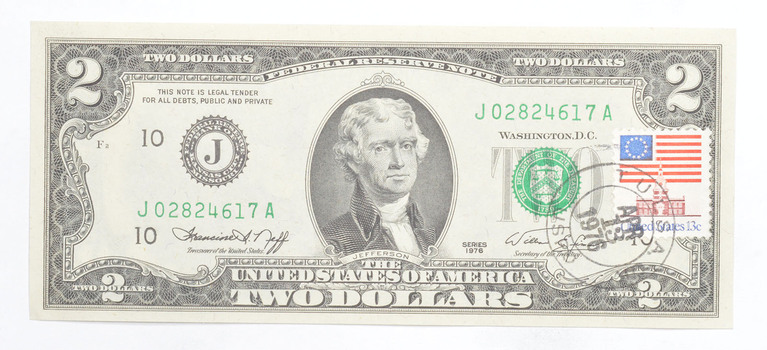 First Day Issue 1976 $2 Federal Reserve Note - Stamped!