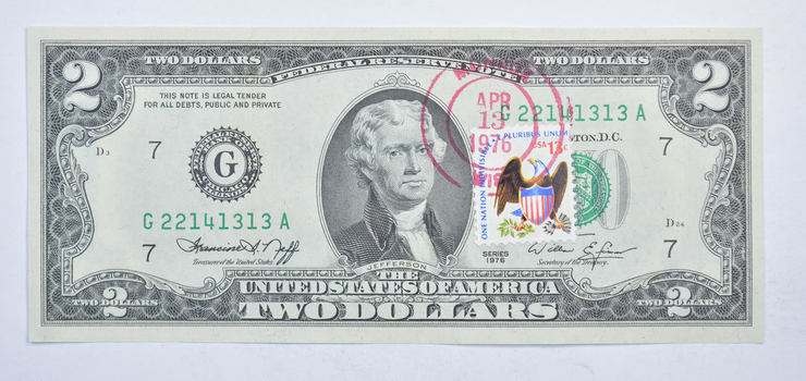 First Day Issue 1976 $2.00 Federal Reserve Note - Stamped!