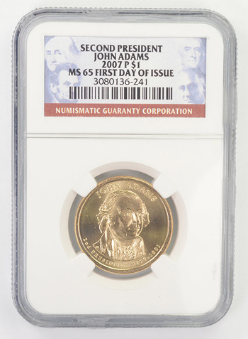 First Day Issue MS-65 John Adams 2007-P NGC Graded Gold Dollar