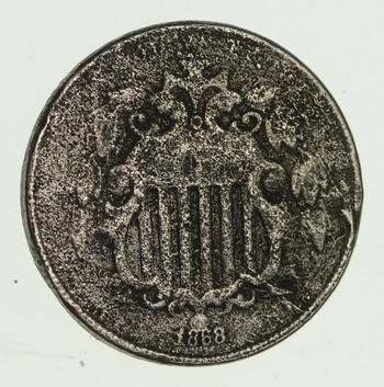 First Nickel Design 1860's-80's Era - US Shield Nickel US Type Coin
