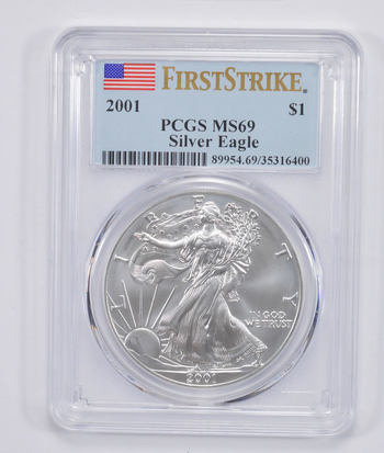 FIRST STRIKE - 2001 American Silver Eagle - PCGS Graded MS-69 - Tough Coin