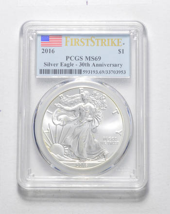 FIRST STRIKE - 2016 American Silver Eagle - PCGS Graded MS-69 - Tough Coin